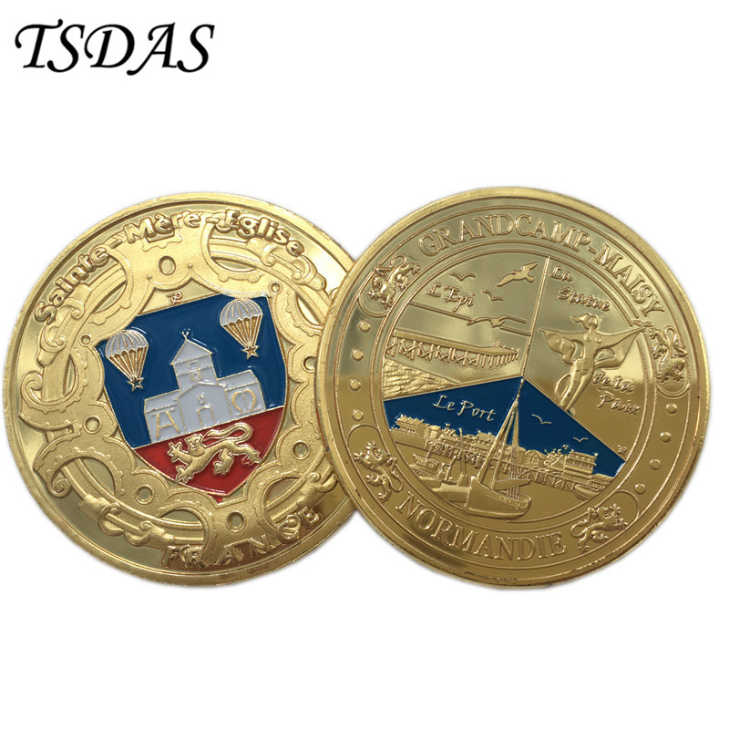 Wholesale Normandie France Gold Plated Coin With Round Box USA Military Coins Free Shipping